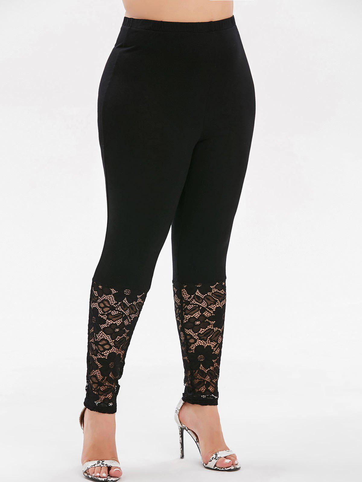 Store High Waisted Lace Panel Plus Size Leggings