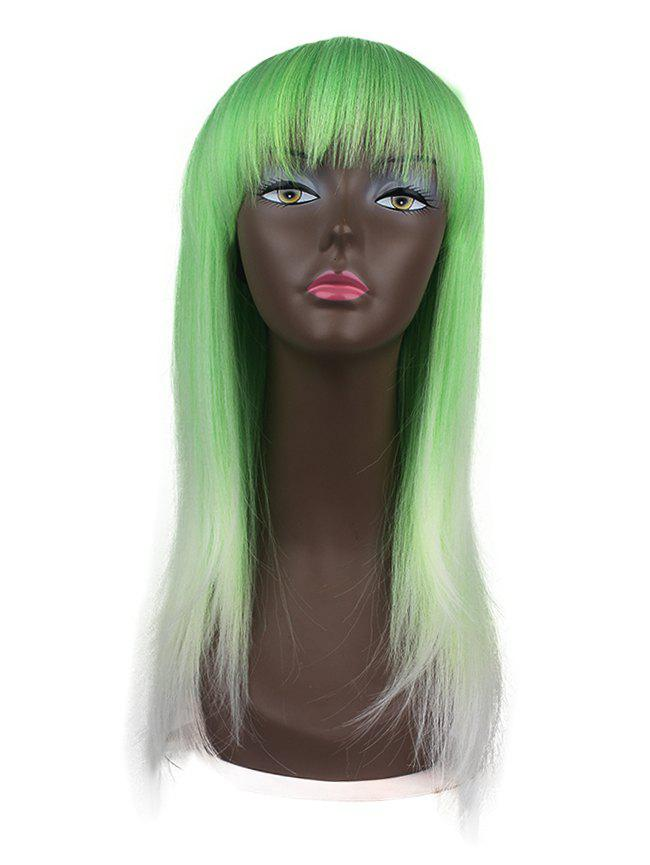 Sale Synthetic Neat Bang Ombre Cosplay Long Wig