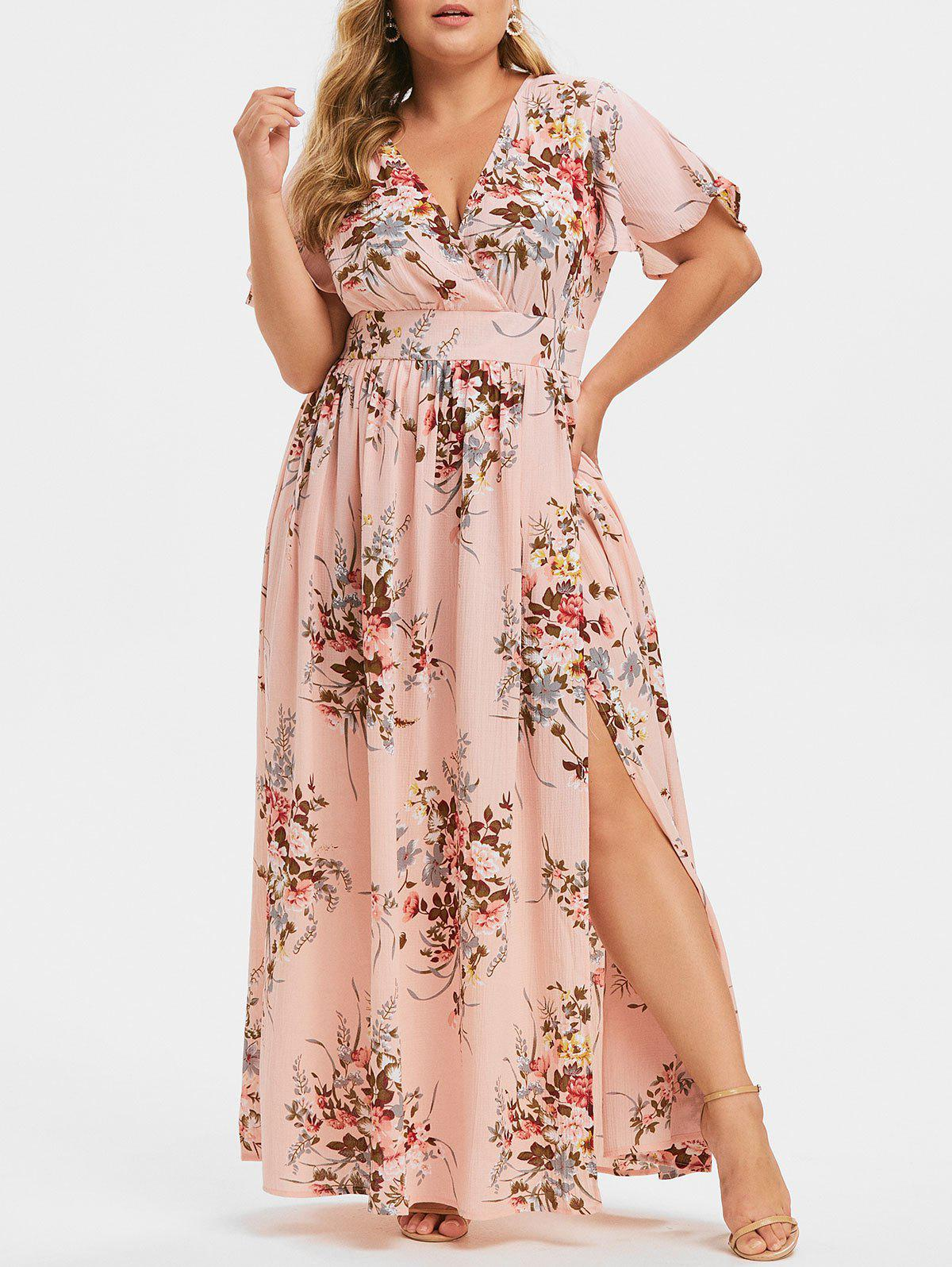 Plus Size Low Cut Split Floral Maxi Dress
