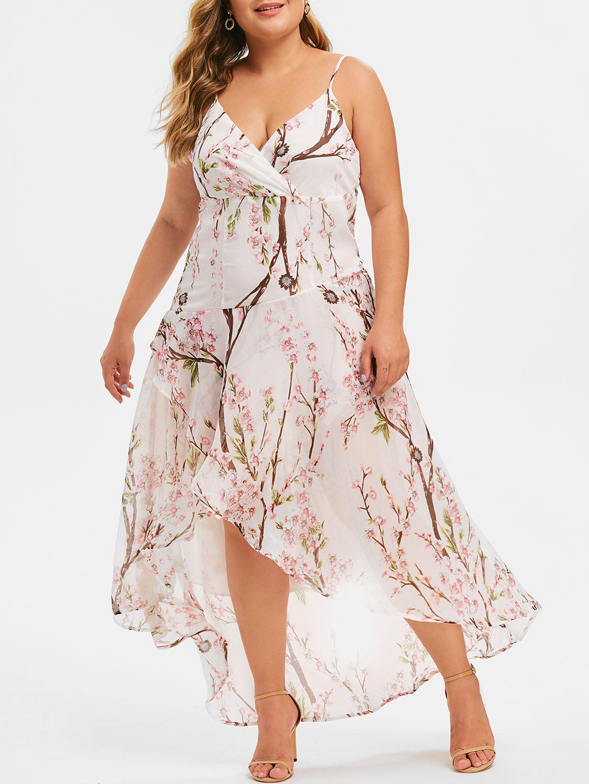 Hot Plus Size Peach Blossom High Low Maxi Dress