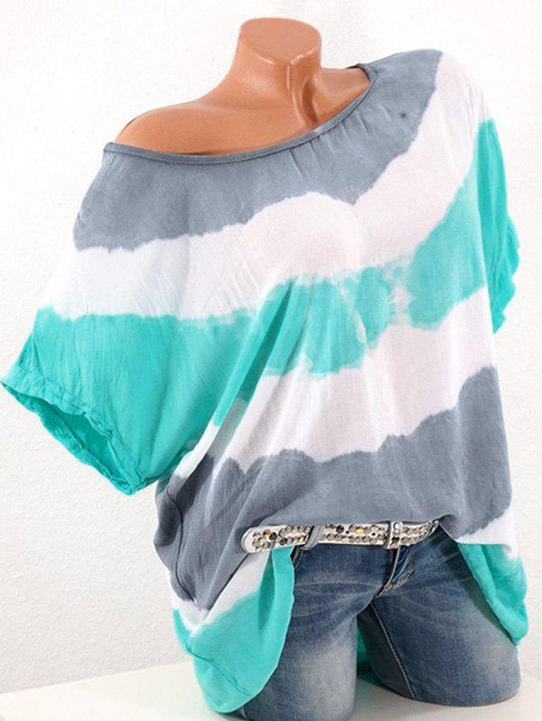 Discount Plus Size Batwing Sleeve Contrast Color T-shirt