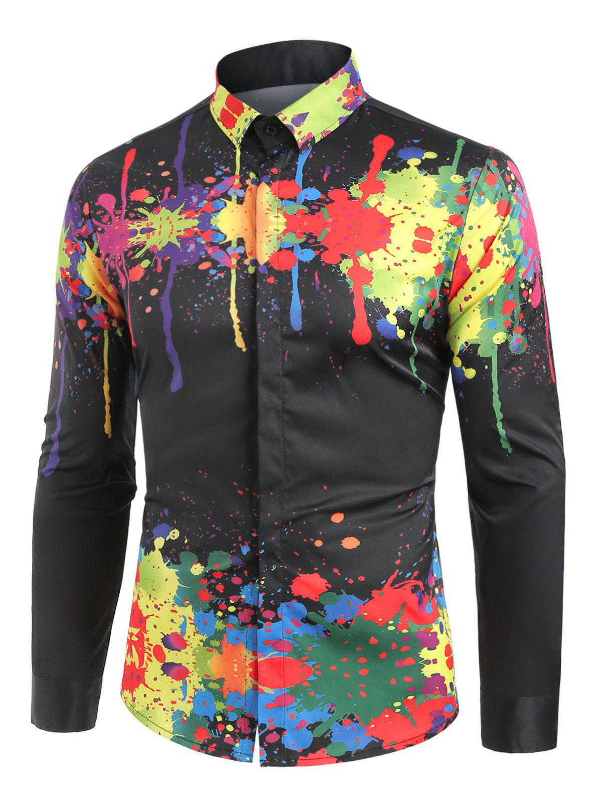 Sale Colorful Splatter Paint Pattern Turndown Collar Long Sleeve Shirt