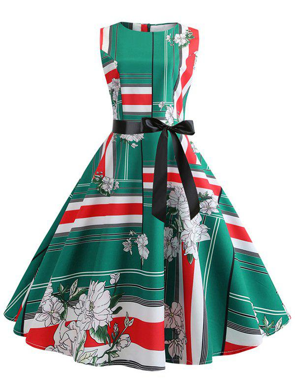 New Floral Striped Belted Dress