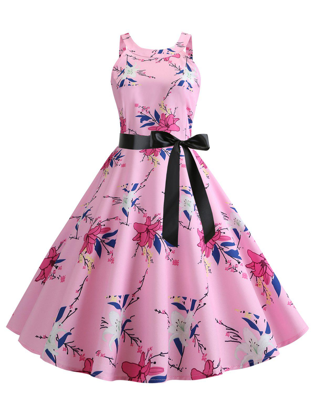 Unique Printed Belted Sleeveless Dress