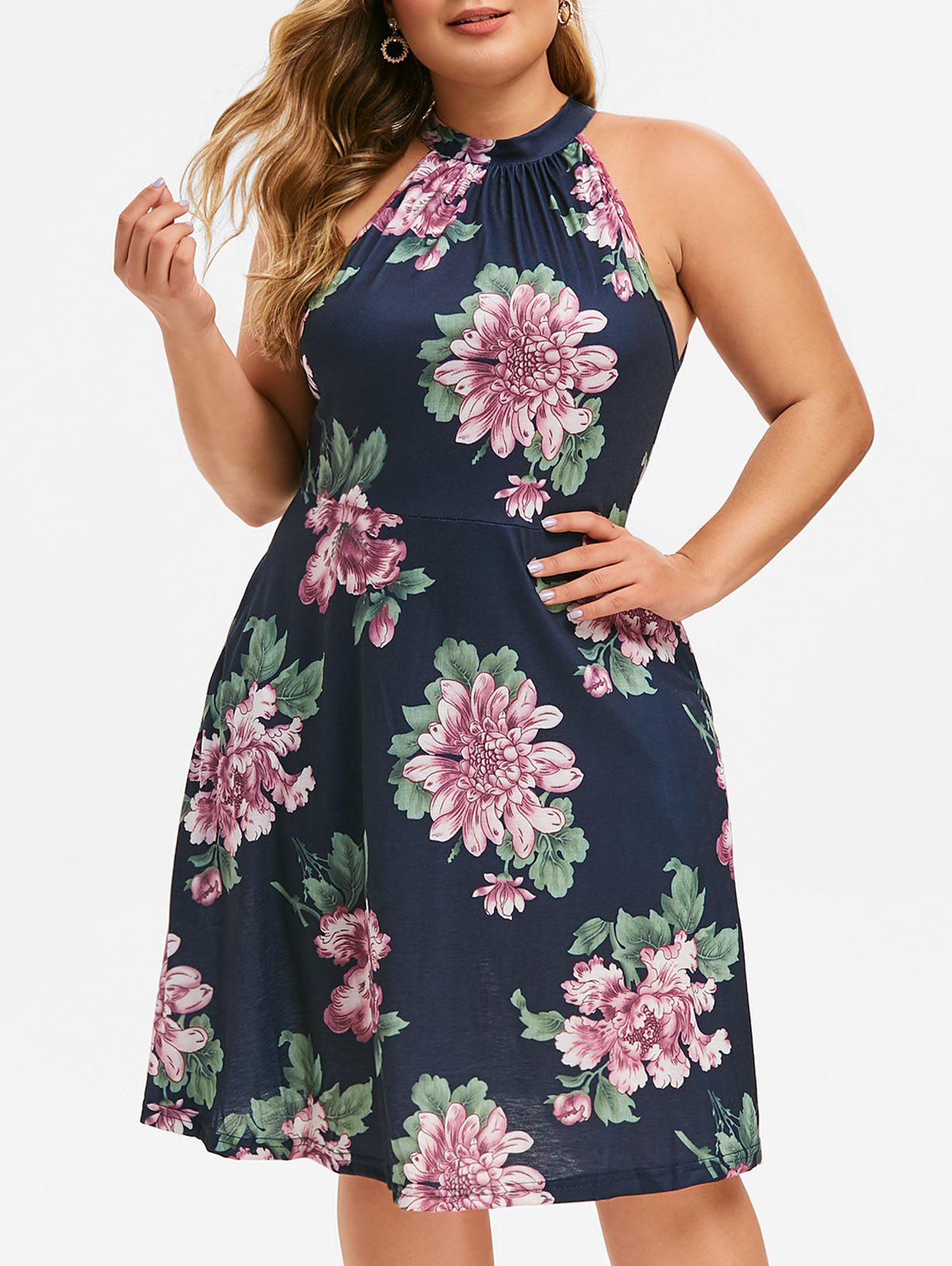 Shop Keyhole Seam Pockets Floral Plus Size Dress