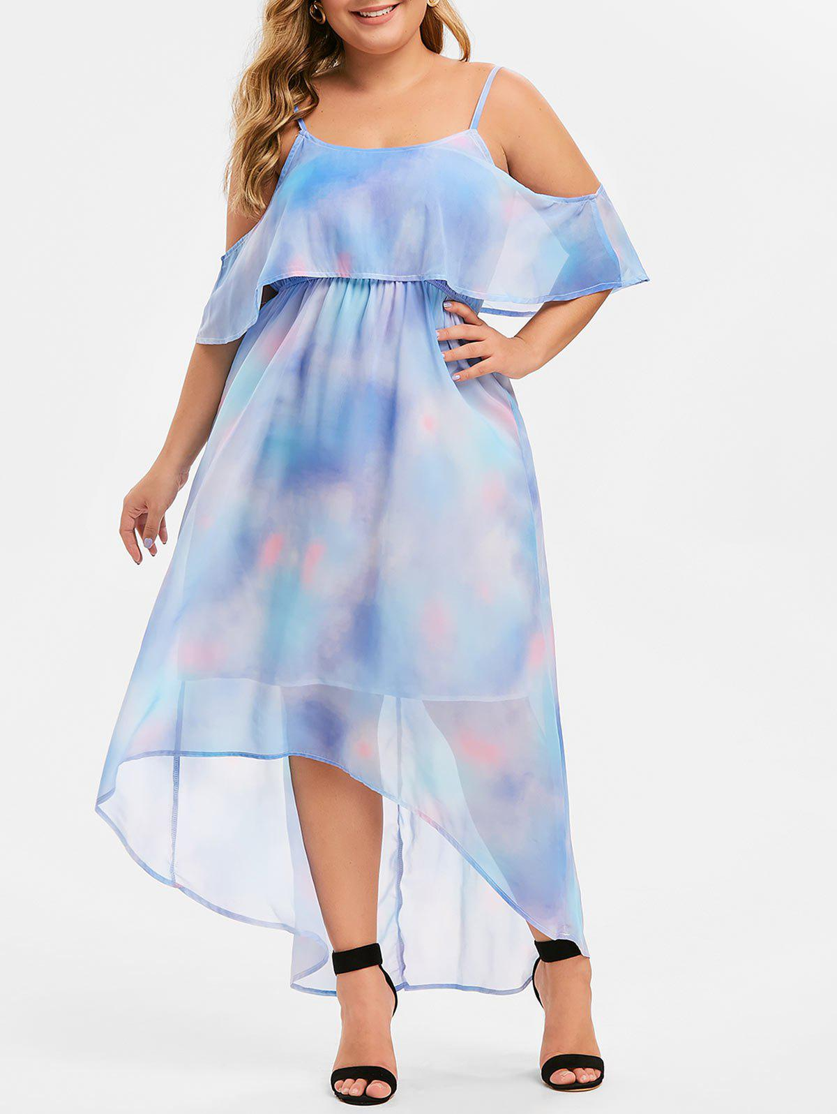 Outfits Plus Size High Low Ruffled Tie Dye Maxi Dress