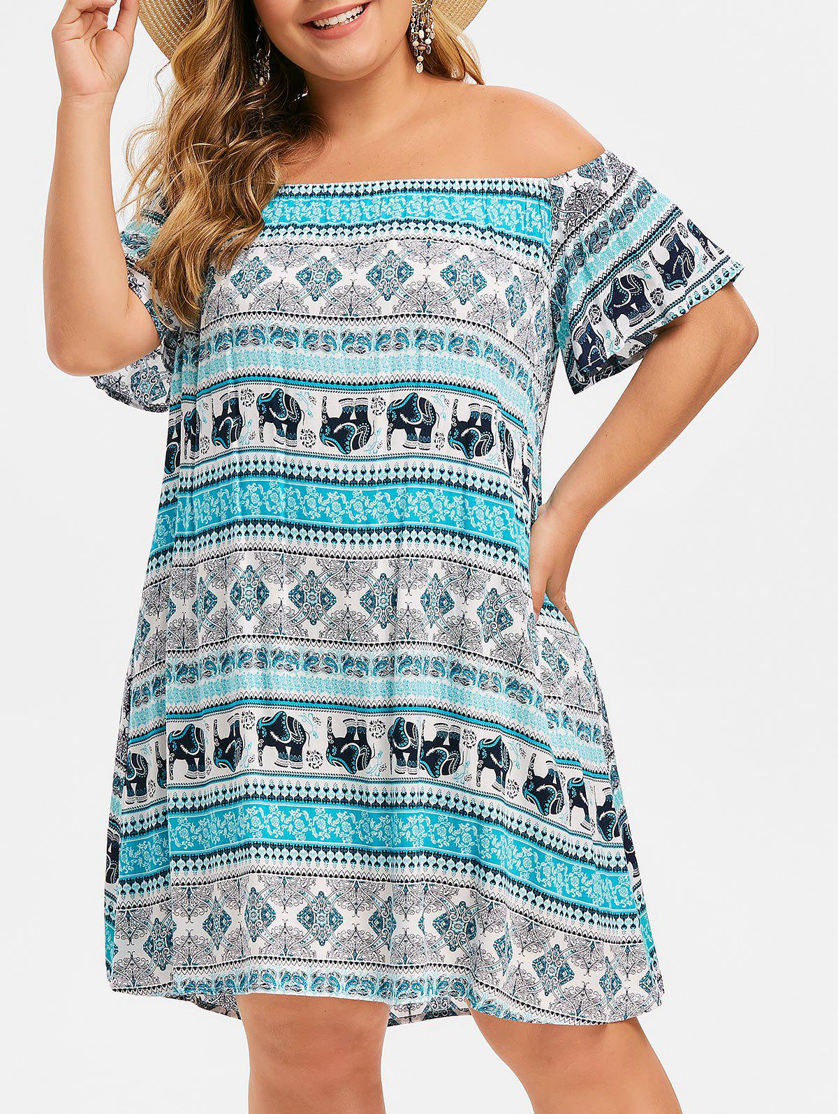 Fancy Plus Size Off Shoulder Tribal Print Straight Dress