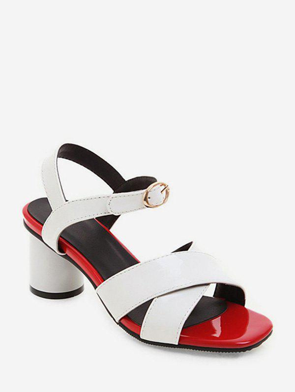 Buy Cross Strap Square Toe Block Heel Sandals