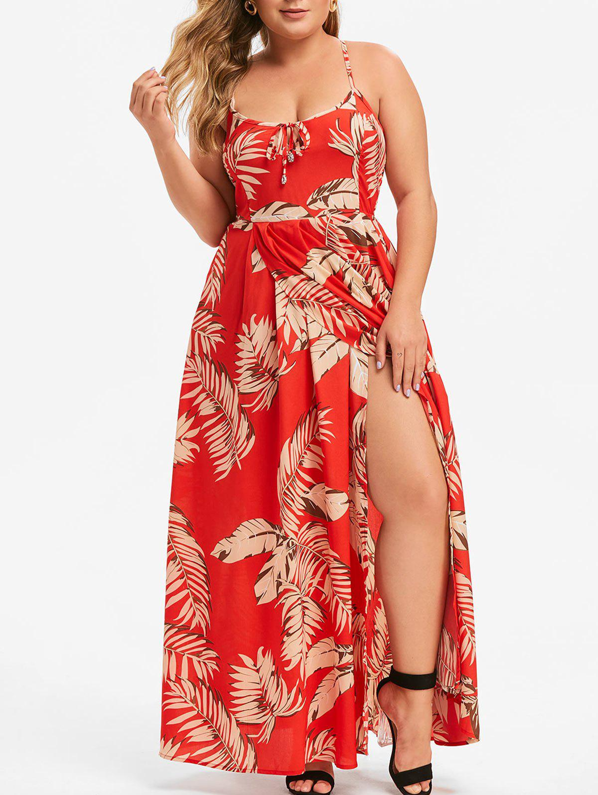 Affordable Plus Size Leaves Print Backless Lace Up Slit Maxi Dress