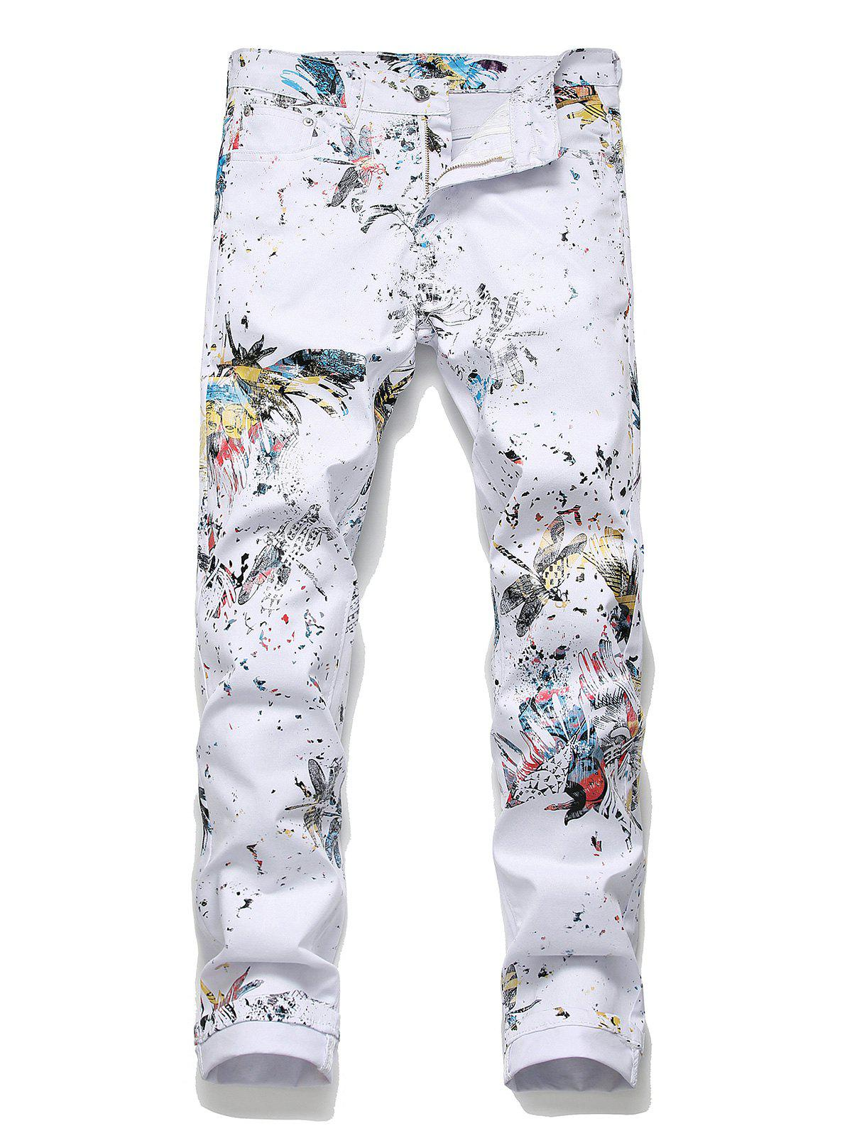 Outfits Floral Dragonfly Pattern Pencil Jeans