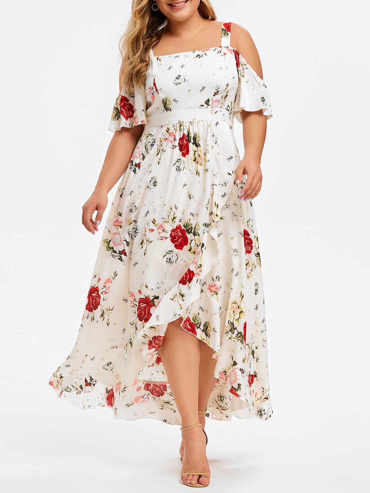 Fashion Plus Size Cold Shoulder Flounce Floral Maxi Dress