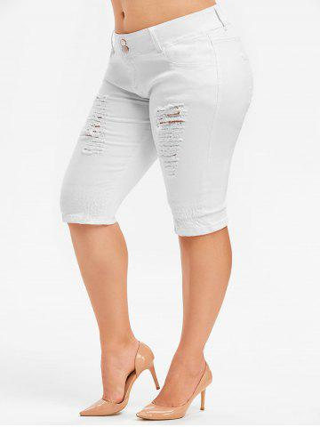 Plus Size Ripped Knee Length Jeans