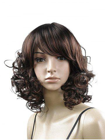 Side Bang Curly Medium Fluffy Synthetic Wig