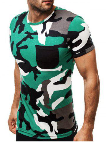 Pocket Decoration Camouflage Print Casual T-shirt
