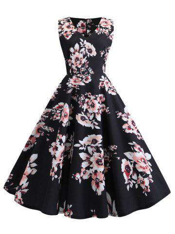 Vintage Floral Print Sleeveless A Line Dress
