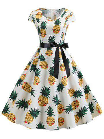 V Neck Retro Pineapple Print Belted Dress
