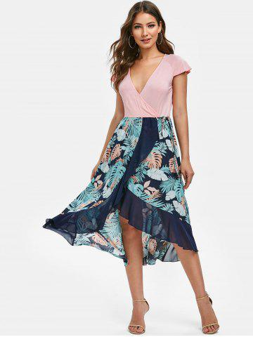 Flounced High Low Palm Print Dress