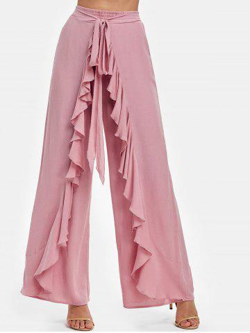 Knot Front Overlay Wide Leg Pants