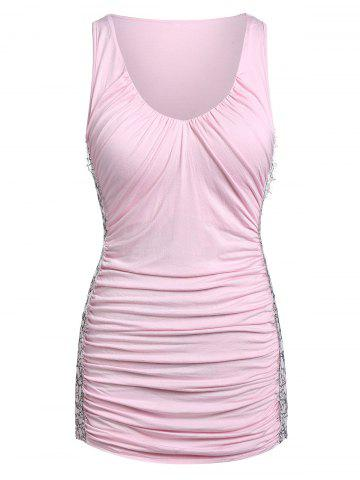 Lace Insert Plunging Neck Ruched Tank Top