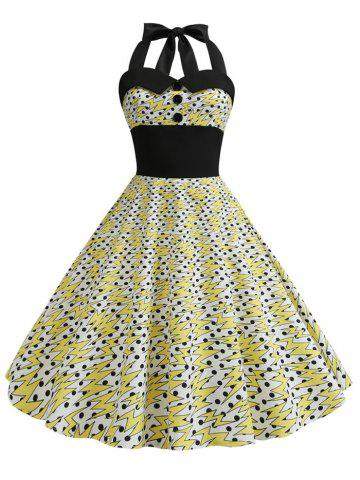 Vintage Polka Dot Lightning Print Halter Dress
