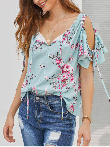 Ruffle Floral Open Shoulder Blouse
