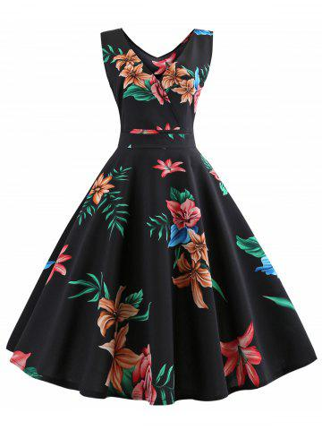 Sleeveless Floral Print Belted Flare Dress