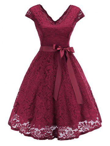 V Neck Lace A Line Belted Dress