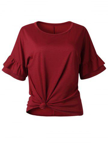 Raglan Sleeve Flounce Front Knotted Tee