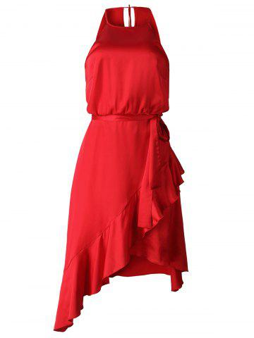Asymmetric Satin Belted Casual Dress