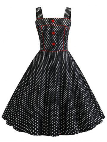 Vintage Buttons Polka Dot Piping Dress