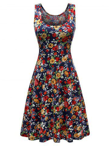 Flower Knee Length Casual Tank Dress