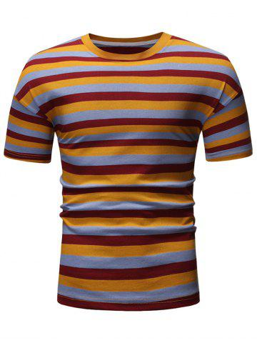 Colorful Striped Casual Short Sleeves T-shirt
