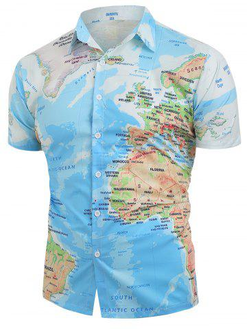 World Map Pattern Button Down Shirt