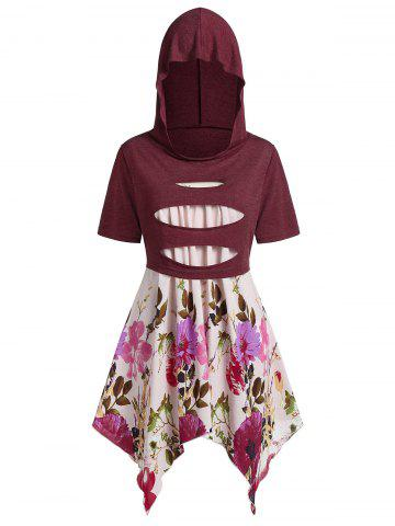Plus Size Handkerchief Floral Cami With Hooded Ripped Top - RED WINE - 1X