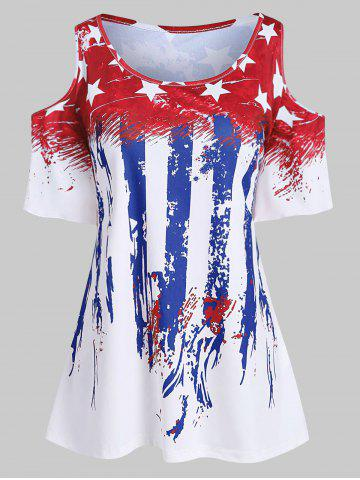 Plus Size American Flag Cold Shoulder T Shirt - RED - 4X