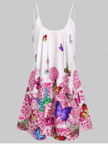 Butterfly Flower Cami Tunic Dress - RED - 2XL