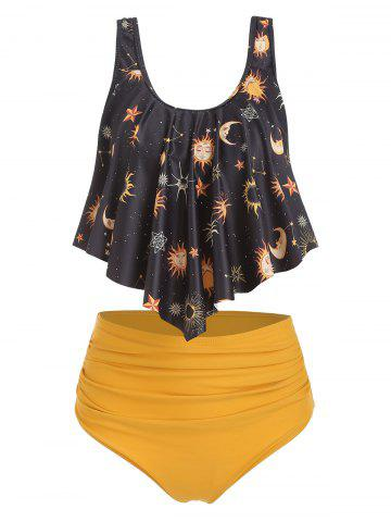 Sun Stars Moon Flounce High Waisted Tankini Swimsuit