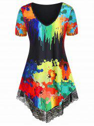 Plus Size Lace Trim Splatter Paint T-shirt -