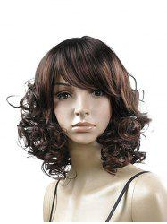 Side Bang Curly Medium Fluffy Synthetic Wig -