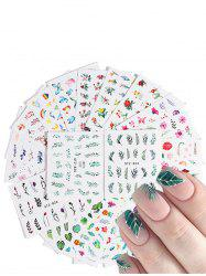 20PCs Leaves Rainbow Flamingo FLower Pattern Nail Decals -
