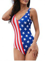 American Flag Plunge One-Piece Swimsuit -