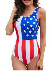 Backless American Flag One-Piece Swimsuit -