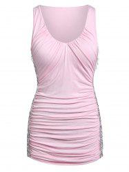 Lace Insert Plunging Neck Ruched Tank Top -