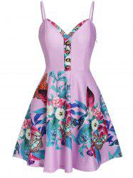 Retro Floral Print Pin Up Dress -