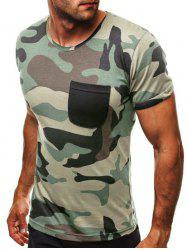 Pocket Decoration Camouflage Print Casual T-shirt -