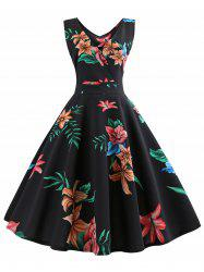 Sleeveless Floral Print Belted Flare Dress -