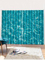 2PCS Sea Wave Pattern Window Curtains -