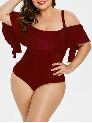 Back Cut Out Plus Size Ruffle Embellished Swimwear - Красное вино 2X