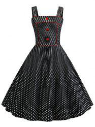 Vintage Buttons Polka Dot Piping Dress -