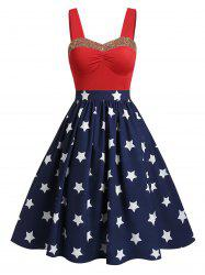 Sweetheart Collar Glitter American Flag Print Dress -